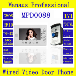 High Quality Smart Home 7 inch Screen Display Video Intercom Phone,Wired RFID Magnetic Lock One to One Video door phone D88b