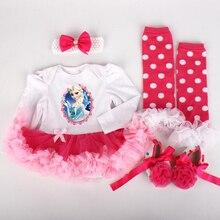 Newborn Baby Girl Clothing Romper 4pcs Set Infant Elsa Anna Dress Girls Birthday Costume Romper + Stockings + Headband + Shoes