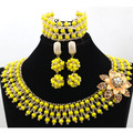 Fashionable Mix Yellow&Gold Chunky Bib African Jewelry Set Wedding Inspiration Nigerian Beads Jewelry Set Free Shipping WA851