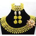 Mezcla de moda Amarillo y Oro Chunky Bib joyería de la Boda Africana WA851 Inspiración Beads Nigerianos Joyería Conjunto Envío Gratis