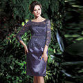 New Design Sheer Lace Three Quarter Purple Mother Of The Bride Dresses 2016 Knee Length Sheath Evening Party Gowns Custom Made