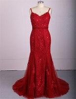 Red Applique Lace Plus Size Mermaid Evening Gowns Formal Dress Party dresses 2017 Robe de Soiree longue Abiye
