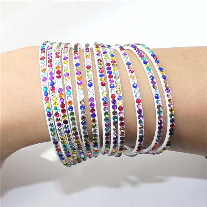 Fashion 6 Layer Wrap Bracelets Slake Leather Bracelets With Crystals Couple Jewelry womans bracelet 17