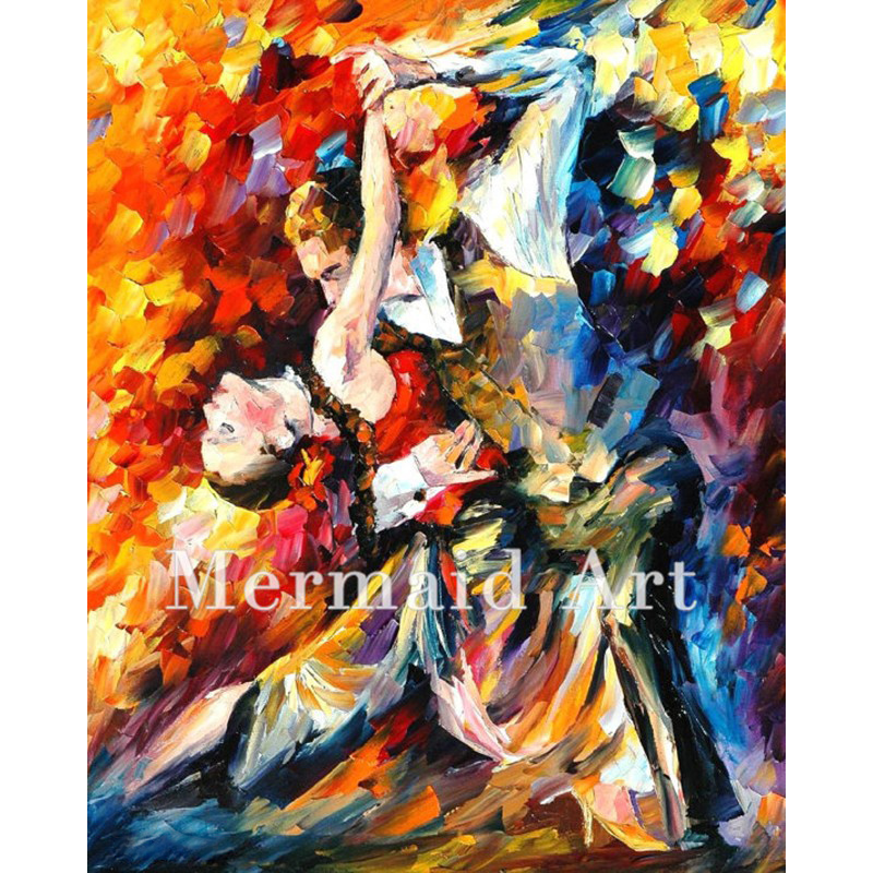 Hand Painted Tango In Paris Oil Painting On Canvas For Abstract Thick Palette Knife Painting Living Room Decor Artwork Fine Art