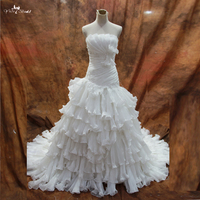 RSW79 Factory Outlets High Quality Gorgeous Classical Scalloped Neckline Crumpled Taffeta Wedding Dress