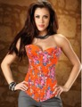 Оранжевый вышитые цветочные женщины топы мода overbust корсет