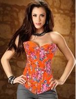 Laranja bordado Floral mulheres Tops moda overbust corset