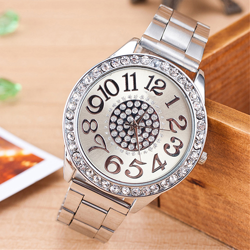 Women Luxury Big Numbers Round Dial Rhinestone Inlaid Alloy Quartz Wrist Watch women s fashionable rhinestone inlaid zinc alloy necklace golden