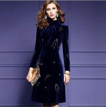Women Winter Plus Size Velvet Dress Party Evening Elegant Slim Fashion Beading Long Sleeve Semi-high Collar A-line Dress