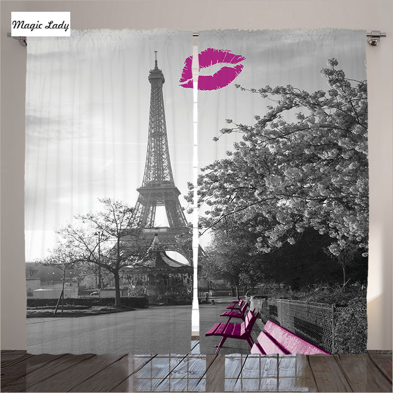 curtains luxury europe living room bedroom decor 15213 | curtains luxury europe living room bedroom decor collection eiffel tower paris french kiss pink grey 2