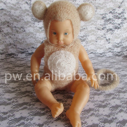 Baby Mohair Monkey Hat and Pant Animal Romper Set Baby Photography Props