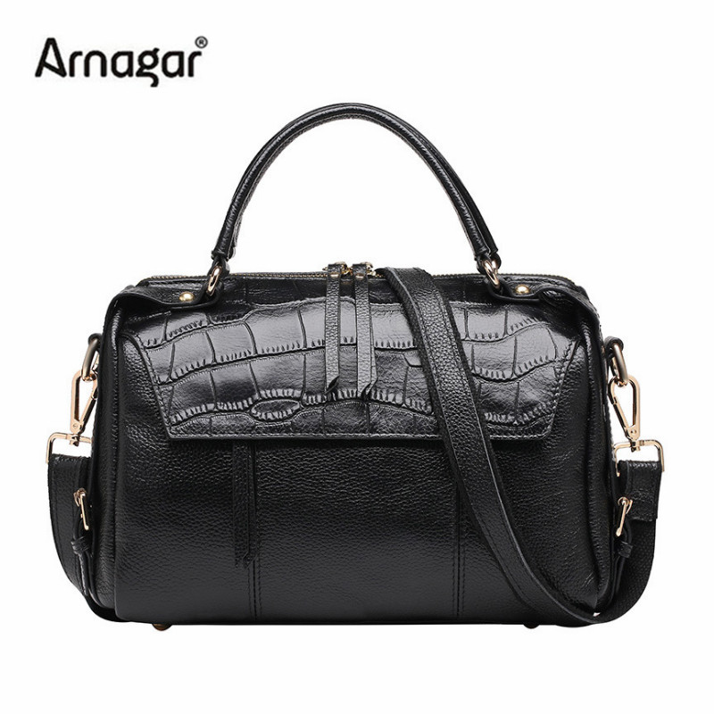 Arnagar luxury handbags women bags designer high quality genuine leather bag black shoulder messenger bags for lady tote bag sac genuine leather women bag designer crocodile handbags luxury quality lady shoulder crossbody bags embossed women messenger bag