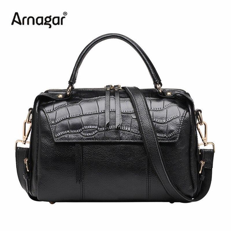 Arnagar luxury handbags women bags designer high quality genuine leather bag black shoulder messenger bags for lady tote bag sac