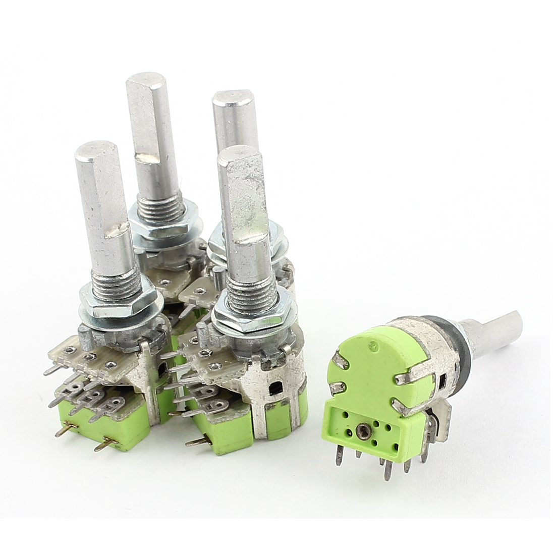 UXCELL Material 5Pcs Stereo B50k 50K Ohm Dual Linear Taper Volume Control Potentiometer Switch electronic metal