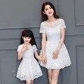 2016 vestido de verano vestidos de ropa de las muchachas de encaje a juego de la familia de madre e hija vestido de mirada de la familia madre e hija vestido de 3 colores
