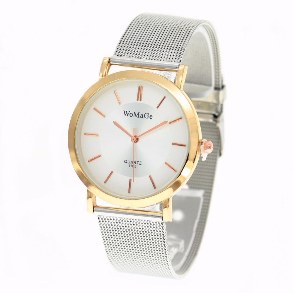 Genteel High Fashion Womage 1185 Wholesale Mesh Watches Women Men Quartz Analog Alloy Band Watch Hot Sale Women Dress Wrist Watch Watches