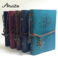 RuiZe, винтажный журнал для путешествий, А5, кожаный блокнот для путешествий, блокнот из крафт-бумаги, дневник, пустая записная книжка, 6 колец - фото