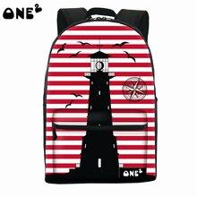 2016 ONE2 Дизайн корабль шаблон видных сумка рюкзак для ноутбука женщины мешок школы hot shot новые модели рюкзак