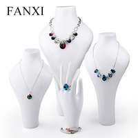 FANXI White Resin Necklace Display Bust Stand Pendant Ring Finger Holder Mannequins Jewelry Exhibitor