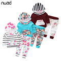 Striped Baby Girl Clothes 2017 Fashion Newborn Baby Flower Clothing Suit Hooded Sweatshirt Tops+Pants Kids Spring Outfits FF280