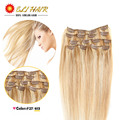 Color #27/613 Brazilian Virgin Hair Clip In Human Hair Extensions Full Head 70g-120g Platinum Blonde Remy Human Hair Clip In