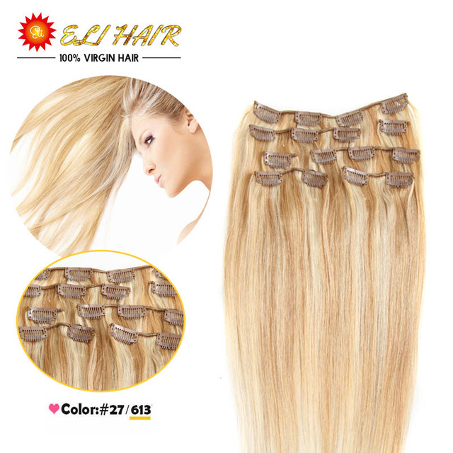 Color 27613 Brazilian Virgin Hair Clip In Human Hair Extensions