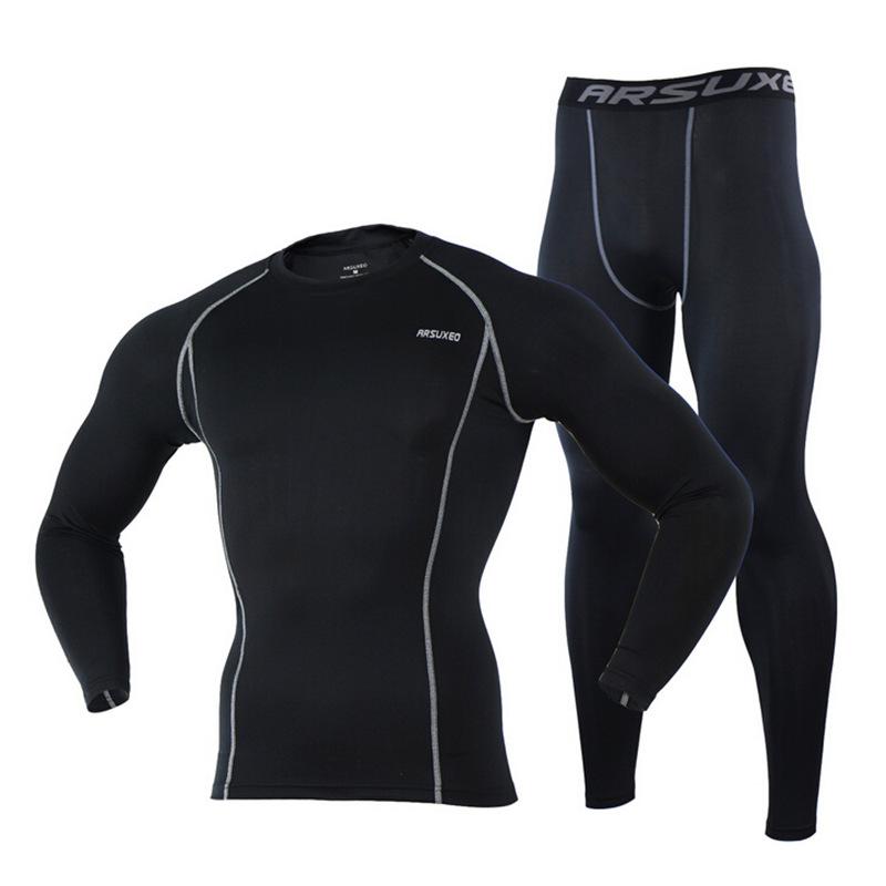Prix pour Arsuxeo Hommes de Compression Vélo Base Couche Ensemble Vélo Sport Vélo De Course Jersey Pantalon Collants Vêtements Sportswear-2017 Nouveau
