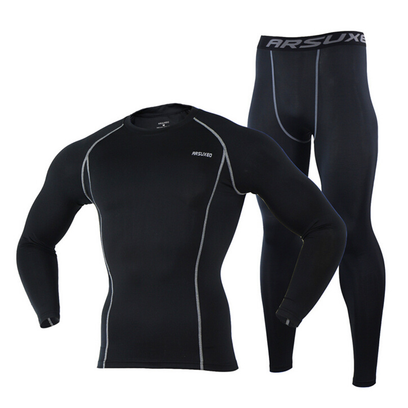 Arsuxeo Men's Compression Cycling Base Layer Set Bike Bicycle Sports Running Jersey Pants Tights Clothing Sportswear - 2017 New