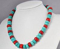 классический синий бирюза и красный коралл ожерелье а . а . 10 мм себе ожерелье 19 дюймов с - круглый мода ну вечеринку ювелирные изделия бесплатная доставка