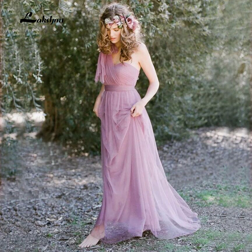 Romantic tulle long bridesmaid dress elegant purple for Plus size wedding dresses utah