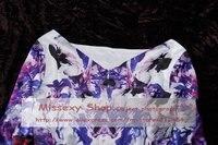 европа знаменитости мода элегантный лодка шею печать платье принцессы платья ss12436 оптовая продажа бесплатная доставка