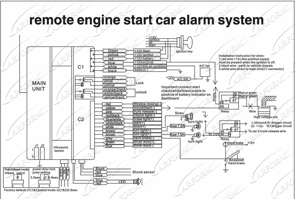 toyota smart key system wiring diagram: free shipping one way car alarm  system with remote
