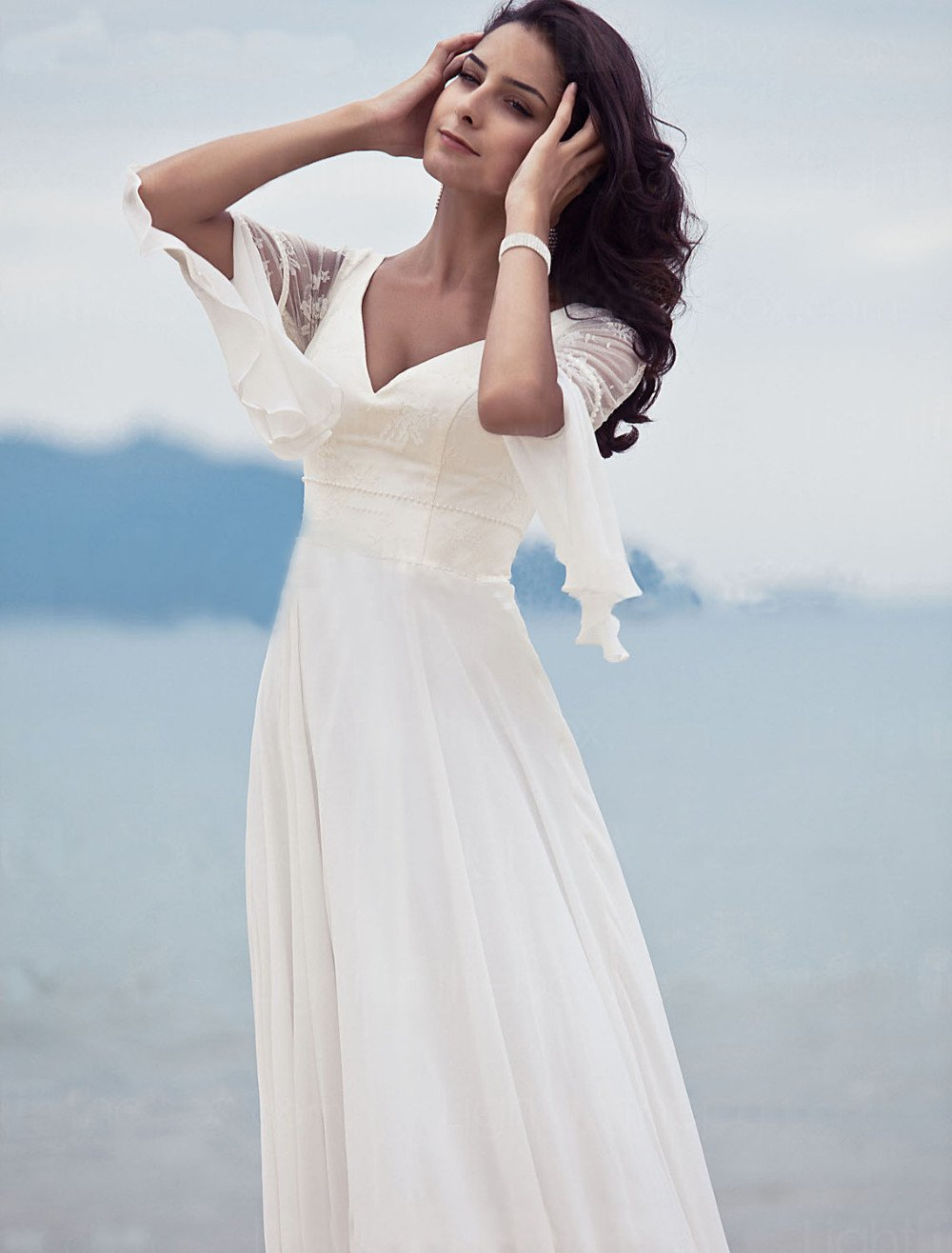 Design Chiffon Lace Corset Pearl Decoration Beach Wedding Dress ...