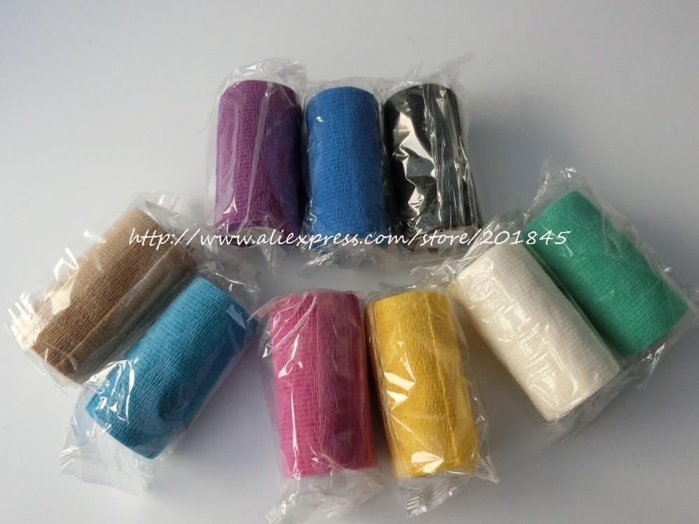 ФОТО 12pcs/Lot 10cm x 4.5m Self Adhesive elastic Nonwoven Cohesive Bandage Adherent Wrap