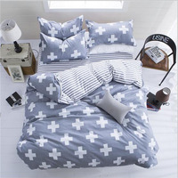 Brief Nordic Style Aloe Essence Cotton Fabrics Bedding Set Stripe Duvet Cover Bed Linen 4pcs Set