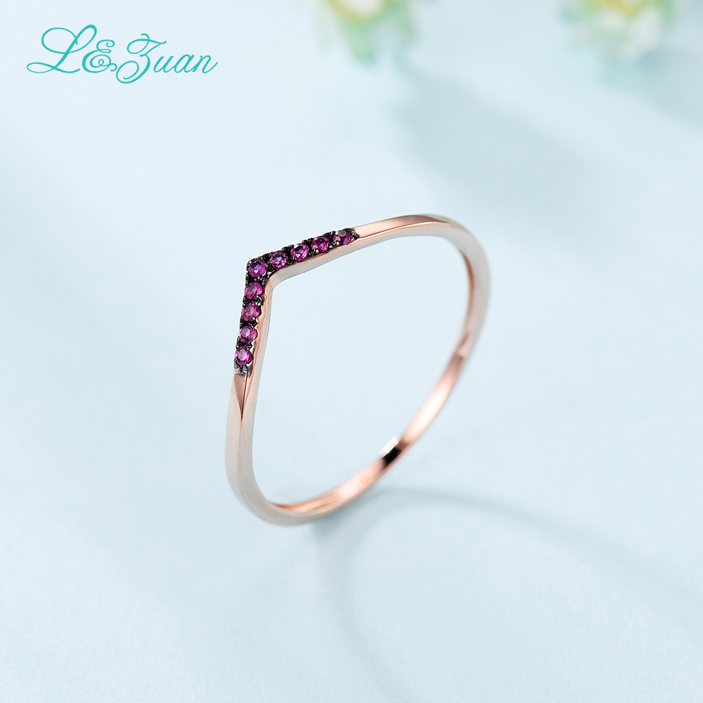 L&Zuan Ruby Jewelry Rings For Women Natural Red Stone 14K Rose Gold - Fine Jewelry - Photo 4