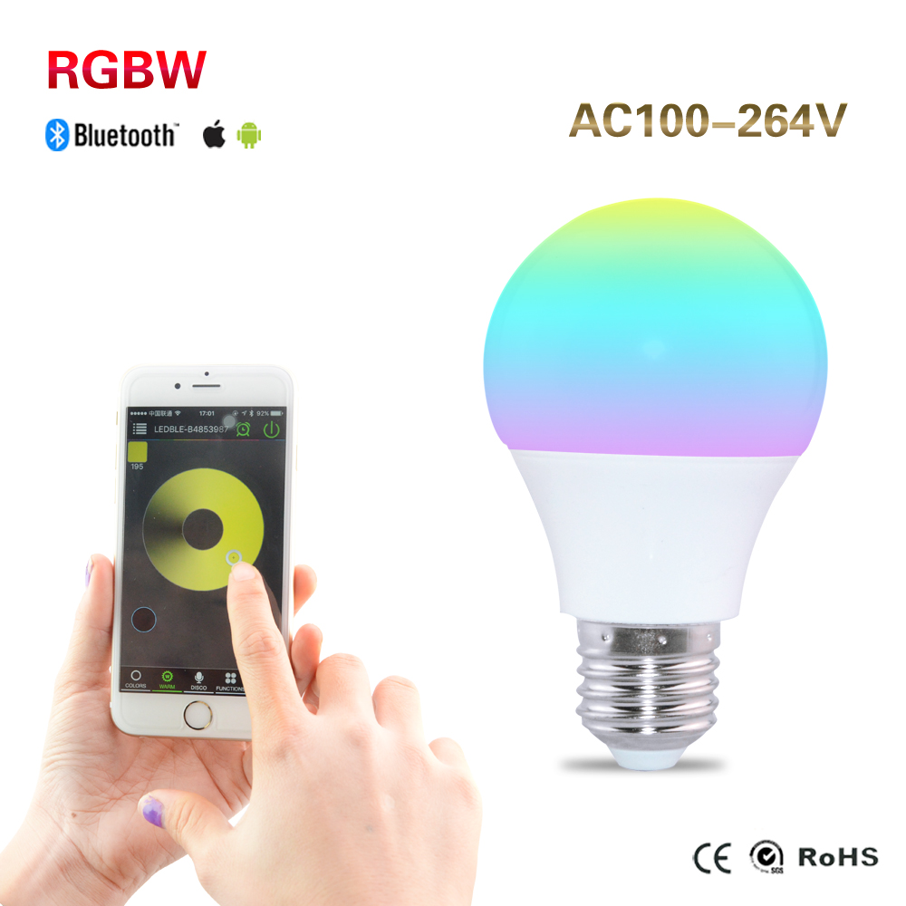 E27 RGBW Bluetooth 4.0 LED Bulb Smartphone App Remote Control Lamp Light Bombillas Led Sleeping Mode Smart Home Lighting s15 smart led bulb bluetooth 4 0 speaker app control support