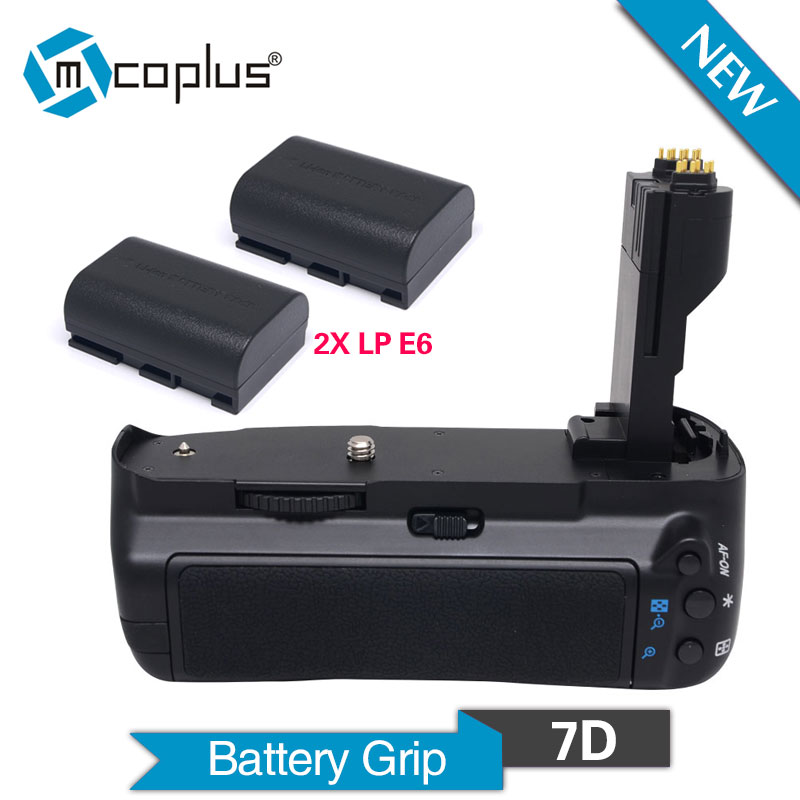 Mcoplus BG-7D Vertical Battery Grip with 2pcs LP-E6 Batteries for Canon EOS 7D Camera as BG-E7 Meike MK-7D camera battery grip pixel bg e20 for canon eos 5d mark iv dslr cameras batteries e20 lp e6 lp e6n replacement for canon bg e20
