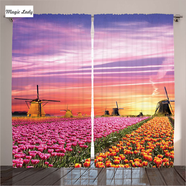 Pink Curtains Living Room Bedroom Tulip Fields Windmills European ...