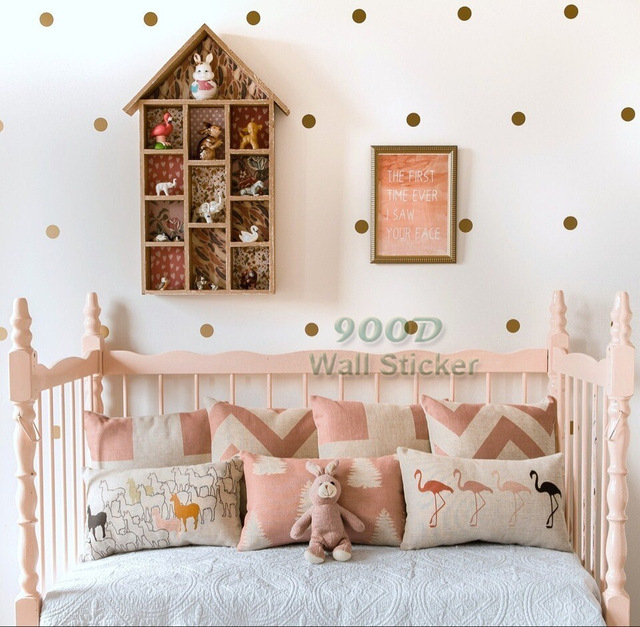Gold dot wall decals