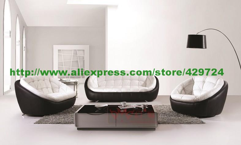 Black Modern Sofa Set Sandhill Outdoor Sectional Free Shipping And White Creative Genuine Leather 123 Confortable Home Furniture Ye359