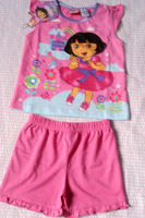 лето новое дети девушки мультфильм Dora свободного покроя полный одежды футболка шорты 2 шт. домашняя одежда костюм