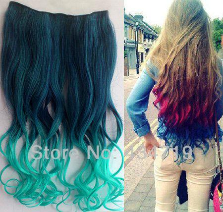 Party Ombre Dip Dye Color Clip In Hair Extension 45 50cm Dark Green