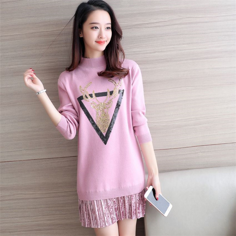 2017New Women Autumn Winter Dress Fashion Loose Thick Half Turtleneck Knitted Pullover Sweater Dress Bottoming Vestido FemaleC15