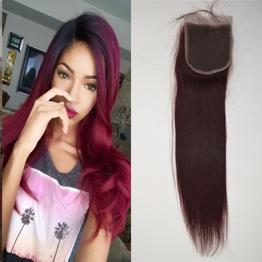 #99j red lace closure 4x4 malaysian virgin hair straight human hair top closure with bleached knots free middle 3 part
