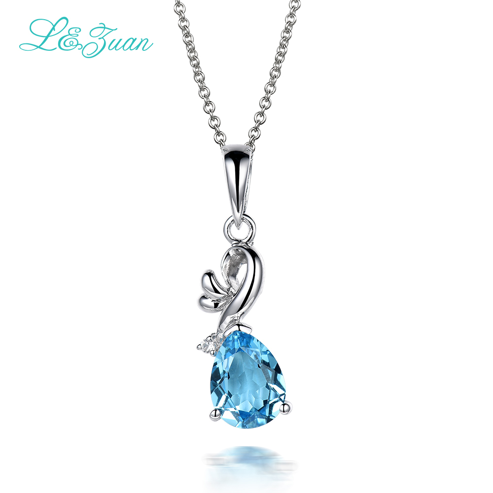 Topaz 925 silver Woman pendants 1.617ct natural blue Gemstones Water Drop Fine Jewelry Sweater necklaces Girl gift
