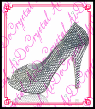 Aidocrystal elegant ladies white crystal high heel shoes handmade sexy 4.5inch platform shoes