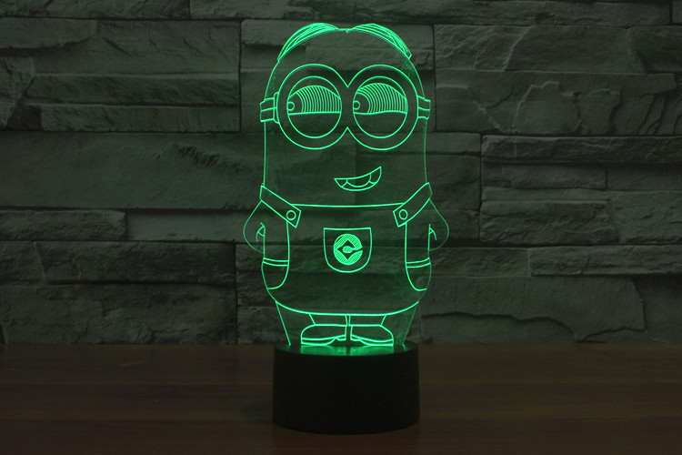 Christmas Decorations for Home Cartoon Minions Shape 3D Effect Novelty Acrylic Table LED Night Light as Gift for Kids YJM-2921
