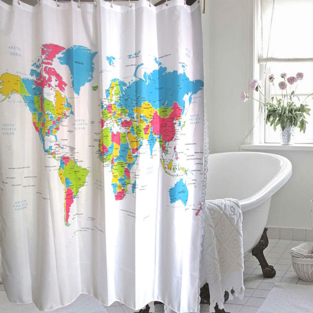World map shower curtain design waterproof polyester fabric world map shower curtain design waterproof polyester fabric 180x180cm bath shower curtains for bathroom with 12hooks gumiabroncs Images