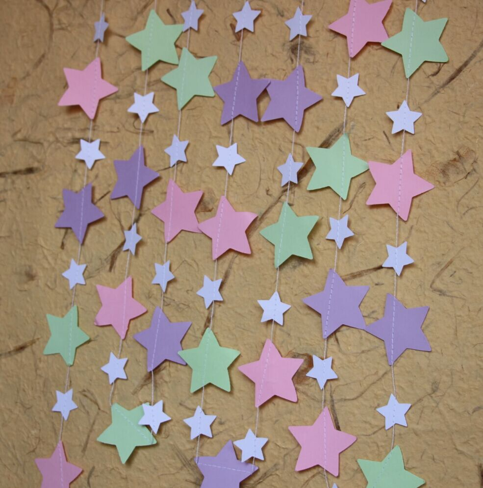 Lavender christmas ornaments -  5pcs Lot Pastel Pink Mint Lavender Twinkle Twinkle Little Star Stars Garland Baby Shower Party Decorations Birthday Decor